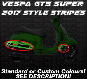 Vespa GTS Super 2017 style Decal / Sticker stripe Kit custom aftermarket